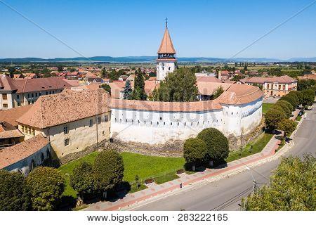 Prejmer Fortified Church, Brasov County, Transylvania, Romania. Aerial View. Medieval Fortress With