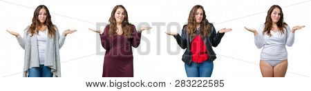 Collage of beautiful plus size woman over isolated background clueless and confused expression with arms and hands raised. Doubt concept.