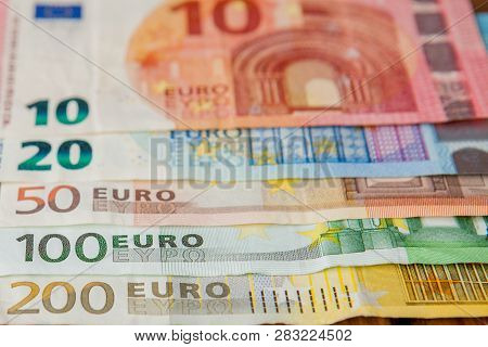 Euro Money. Euro Cash Background. Euro Money Banknotes. Background From Different Euro Banknotes Clo