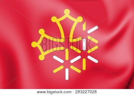 3d Flag Of Languedoc-roussillon-midi-pyrenees, France. 3d Illustration.