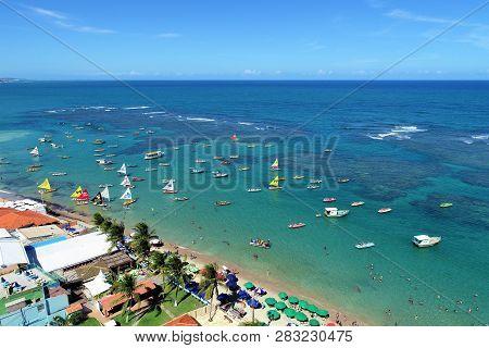 Aerial View Of Porto De Galinhas Beaches, Pernambuco, Brazil: Unique Experience Of Swimming With Fis