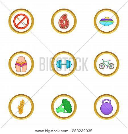 Healthy Lifestyle Icons Set. Cartoon Set Of 9 Healthy Lifestyle Icons For Web Isolated On White Back