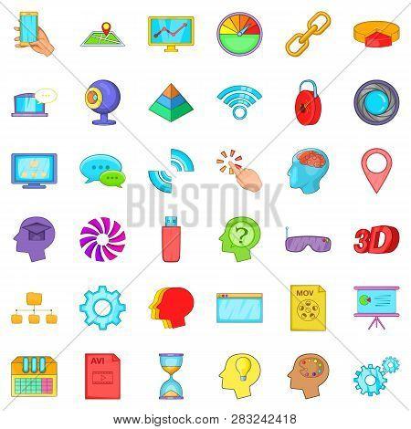 Web Folder Icons Set. Cartoon Style Of 36 Web Folder Icons For Web Isolated On White Background