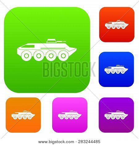 Armored Personnel Carrier Set Icon In Different Colors Isolated Illustration. Premium Collection