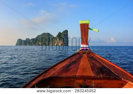 Front Of Longtail Boat Going To Phi Phi Leh Island In Krabi Province, Thailand. Koh Phi Phi Leh Is P
