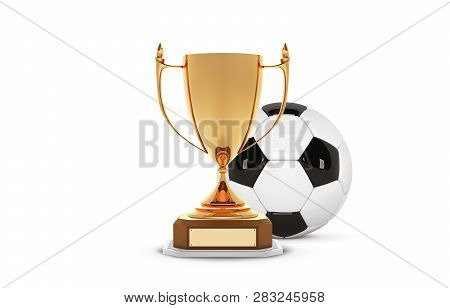 Realistic Golden Trophy Cup With Gold Ball Inside. Winner Cup And Football Ball. Shiny Golden 3d Tro