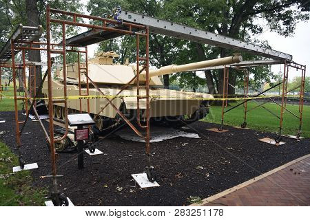 M1 Abrams Tank Undergoing Restoration On Display At The First Division Museum, Cantigny Park, Wheato