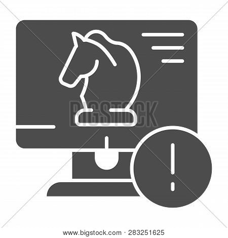 Trojan virus solid icon. Horse on desktop vector illustration isolated on white. Computer virus glyph style design, designed for web and app. Eps 10. poster