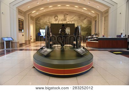 M1902 3 Inch Gun On Display Inside The First Division Museum Entrance Lobby Area, Cantigny Park, Whe