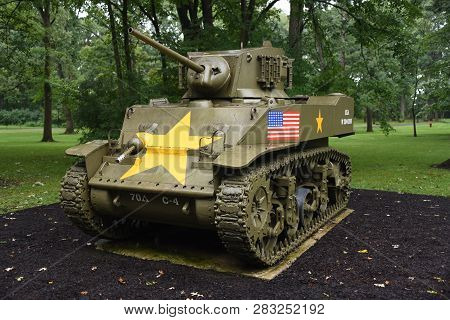 M5 Stuart Tank On Display At The First Division Museum, Cantigny Park, Wheaton, Il September 1, 2018