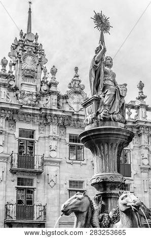 Fountain In Santiago De Compostela, Spain, Bw