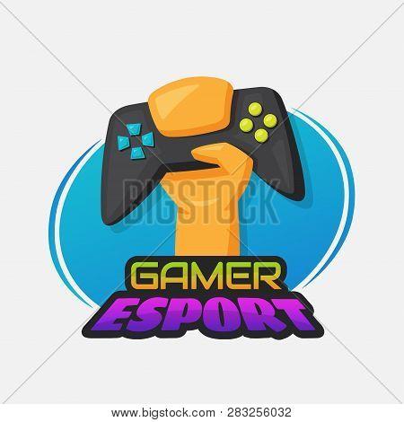 Gaming joystick in gamer hand. Esport, game lover or gamer concept poster