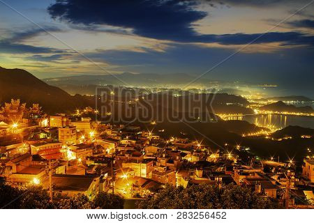 Night View Of Jiufen, People Visit Heritage Old Town Of Jiufen Located In Ruifang District Of New Ta