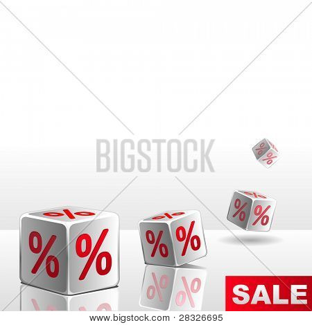 Symbols of percent on falling white cubes. Vector