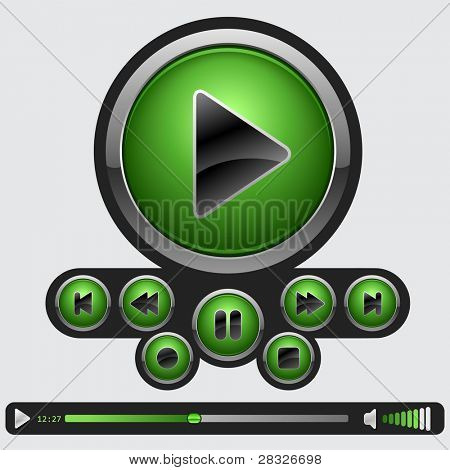 Set of green media buttons. Vector