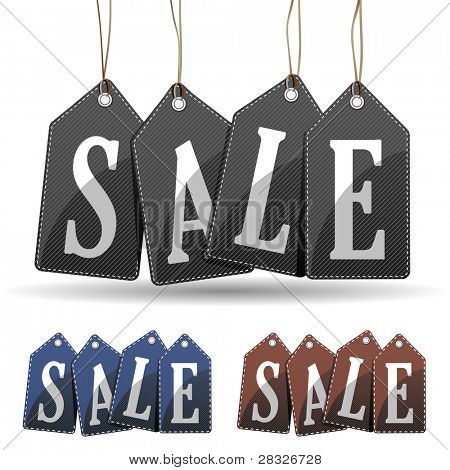 Jeans sale tags concept. Vector Illustration