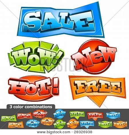 Sale stickers. Vector Illustration