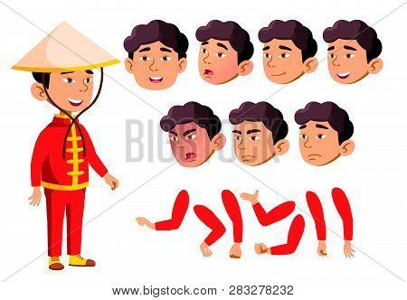 Asian Boy, Child, Kid, Teen Vector. School Children, Teen. Face Emotions, Various Gestures. Animatio