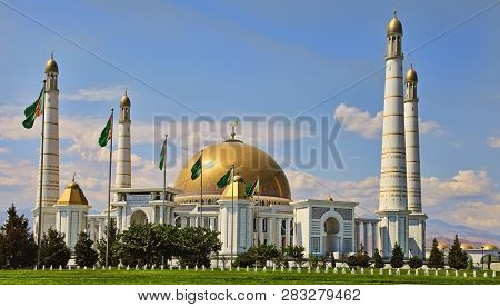 Mosque In Kipchak And Mausoleum, In Which The Former President Of Turkmenistan Niyazov Is Buried. Tu
