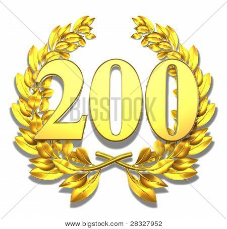 Golden laurel wreath with the number two hundred inside poster