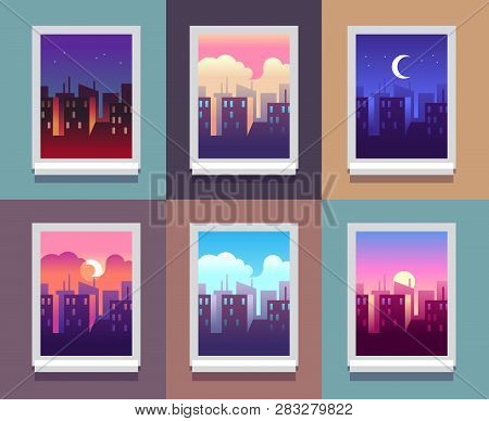 Windows Day Time. Early Morning Sunrise Sunset, Noon And Dusk Evening, Night Cityscape Skyscrapers I