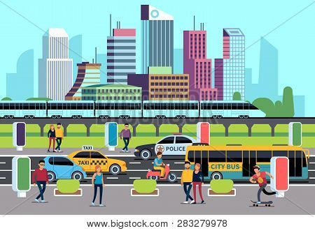 City Street People And Transport. Car Bus Bike Motorcycle And Persons. Transportation Concept, City