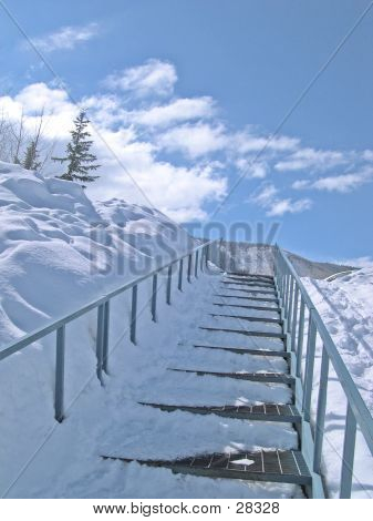 Vertical Snowy Stairs