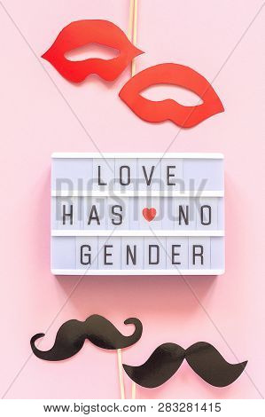 Lightbox Text Love Has No Gender, Couple Paper Mustache Lips Props On Pink Background. Concept Homos