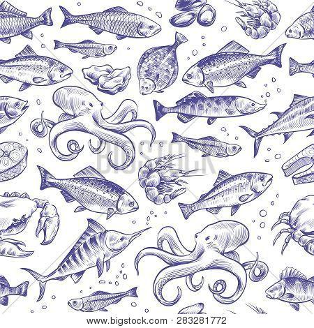 Seafood Seamless Pattern. Sketch Fish Hand Drawn Sea Ocean Marine Tuna Dorado Sturgeon Salmon Menu N