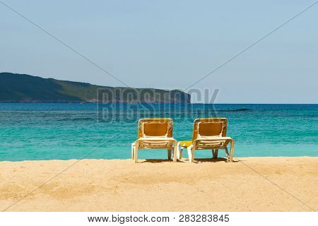 Travel Vacation Tropical Destination. Perfect Tropical Beach Landscape. Travel Vacations Destination