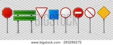 Traffic Road Realistic Signs. Empty Highway Speed Street Sign, Danger Red Circle Vector Isolated Set