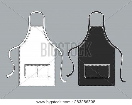 Chef Apron. Black White Culinary Aprons Chef Uniform Kitchen Cotton Kitchen Worker Woman Wearing Wai