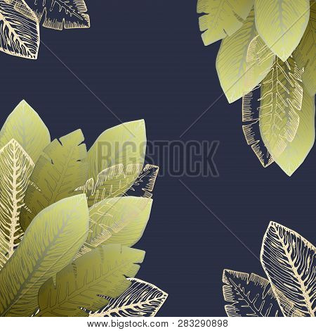 Square Dark Background With Bright Green And Golden Tropical Leaves. Summer Exotic Leaf Frame For Bi