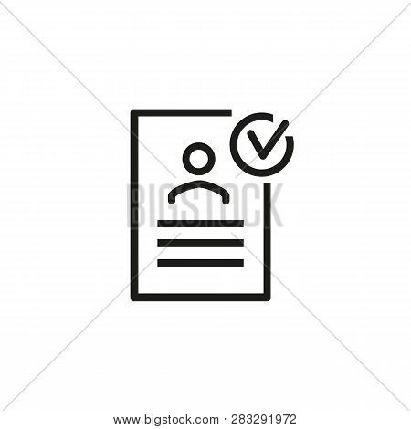 Approved Resume Line Icon. Document, Cv, Resume. Checking Resume Concept. Can Be Used For Topics Lik