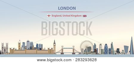 Vector Abstract Illustration Of London City Skyline On Colorful Gradient Beautiful Day Sky Backgroun