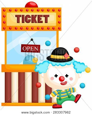 A Vector Of A Clown Juggling In Front Of A Ticket Booth
