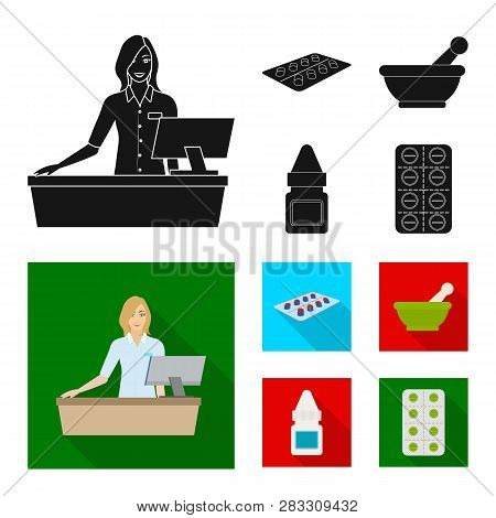 Vector Design Of Retail And Healthcare Sign. Set Of Retail And Wellness Stock Vector Illustration.