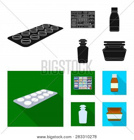 Vector Illustration Of Retail And Healthcare Logo. Collection Of Retail And Wellness Vector Icon For