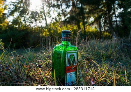 Miercurea Ciuc, Romania-20 September 2018: Empty Jagermeister Bottle On The Grass.