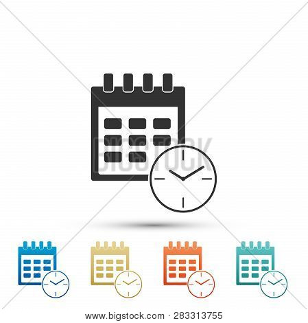 Calendar And Clock Icon Isolated On White Background. Schedule, Appointment, Organizer, Timesheet, T