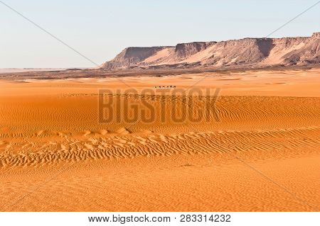 On The Way. A Liitle Caravan Deep In The Sahara With Ist Great Landschapes, Tschad
