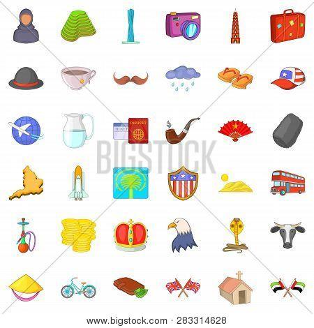 World Tourism Icons Set. Cartoon Style Of 36 World Tourism Icons For Web Isolated On White Backgroun