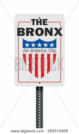 Vector illustration of the The Bronx All-America City (borough of New York City) road sign poster