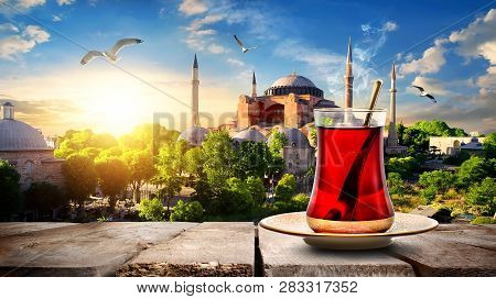 Tea And Hagia Sophia At Sunset In Istanbul, Turkey