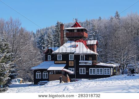 Nice Wooden Cottage For Tourists In Winter On Prasiva Hill, Beskydy, Czech Republic, February 5, 201