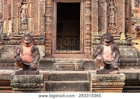 Guardian Sculptures In Banteay Srei Temple, Siem Reap, Cambodia, Asia