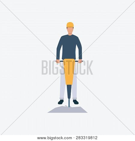 Roadman With Jackhammer Flat Icon. Worker, Boring, Puncher. Labor Concept. Can Be Used For Topics Li