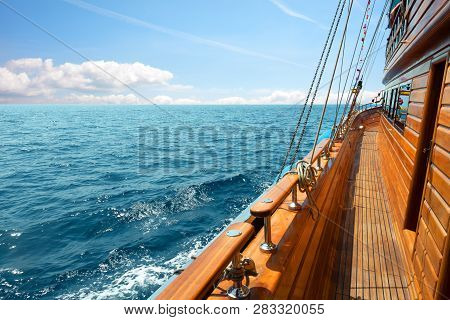 Yacht In The Sea At Sunny Day
