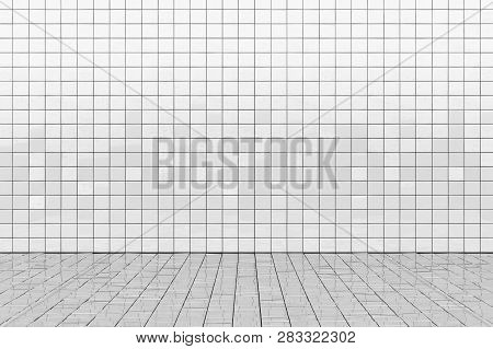 White Ceramic Tile Wall And Floor. Bath Or Toilet Room Background. 3d Illustration