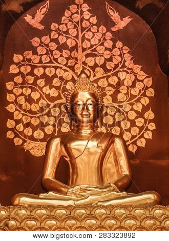 Beautiful Golden Buddah Statue Sits Majestically Inside The Temple.
